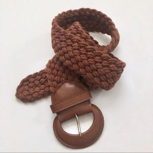 Wide Woven Brown Leather Belt Talbots Women's S